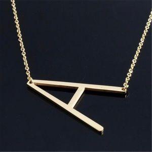 Jewelry - 🆕Oversized A initial sideways gold necklace